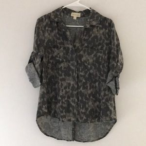 Cloth & Stone Neutral Print Tencel Shirt Size S